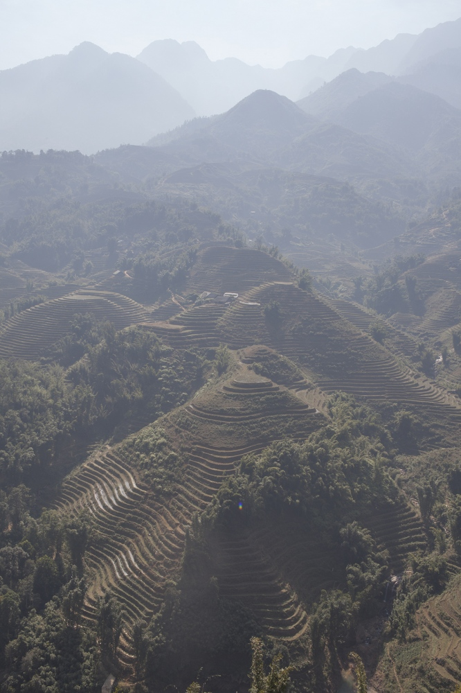 The vast Sa Pa valley with the rice terraces on all steep surfaces.