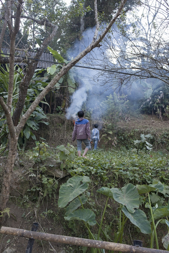Boys burns an area for later use.