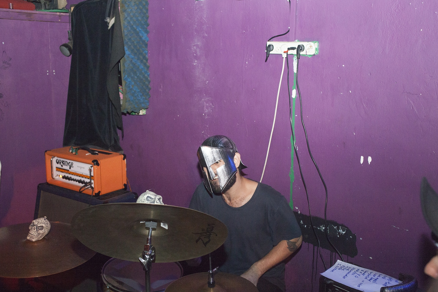 Drummer of Dust with helmet.