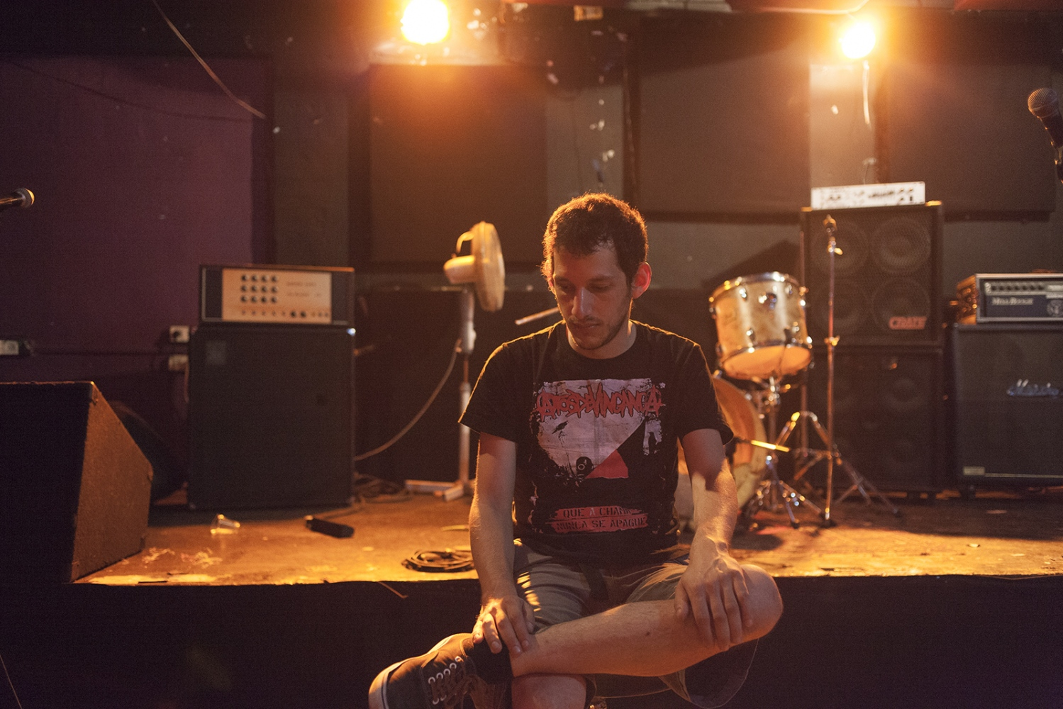 Portrait of Gutzy, a drummer in the Tel Aviv punk scene.