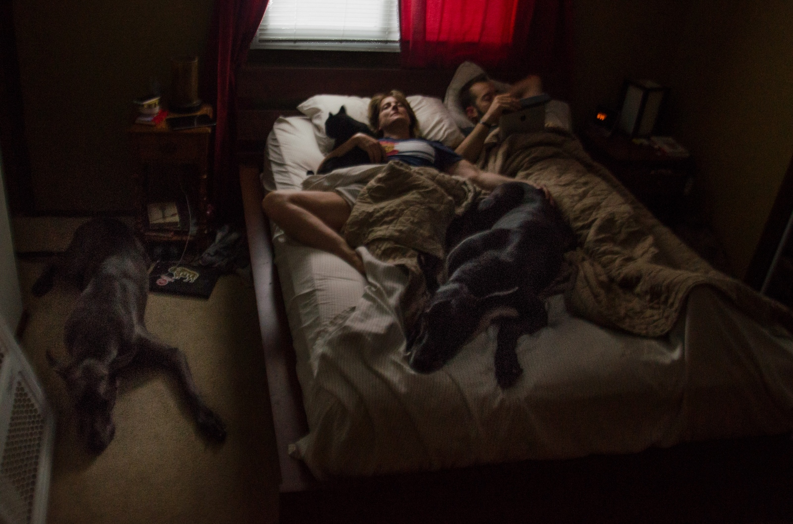 Morgan and Kelly have a moment to themselves…and three of their four pets…before getting up and doing it all over again.
