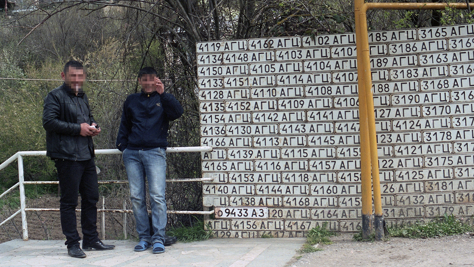 License plates of captured Azeribaijan vehicles lining the street of Vank, Karabakh