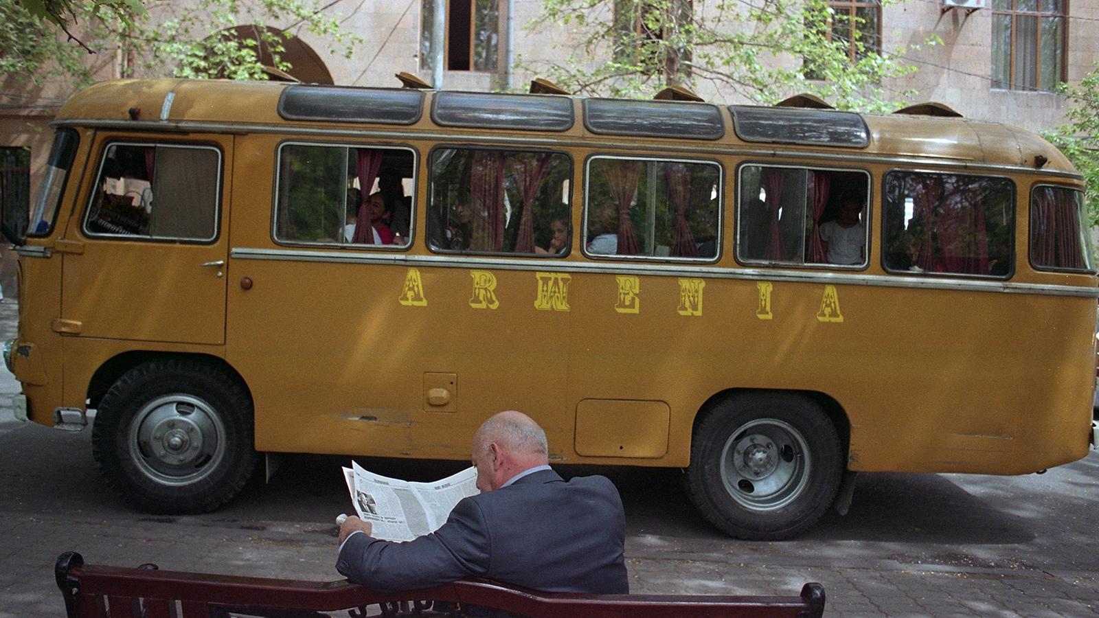 Yerevan schoolbus and street scene