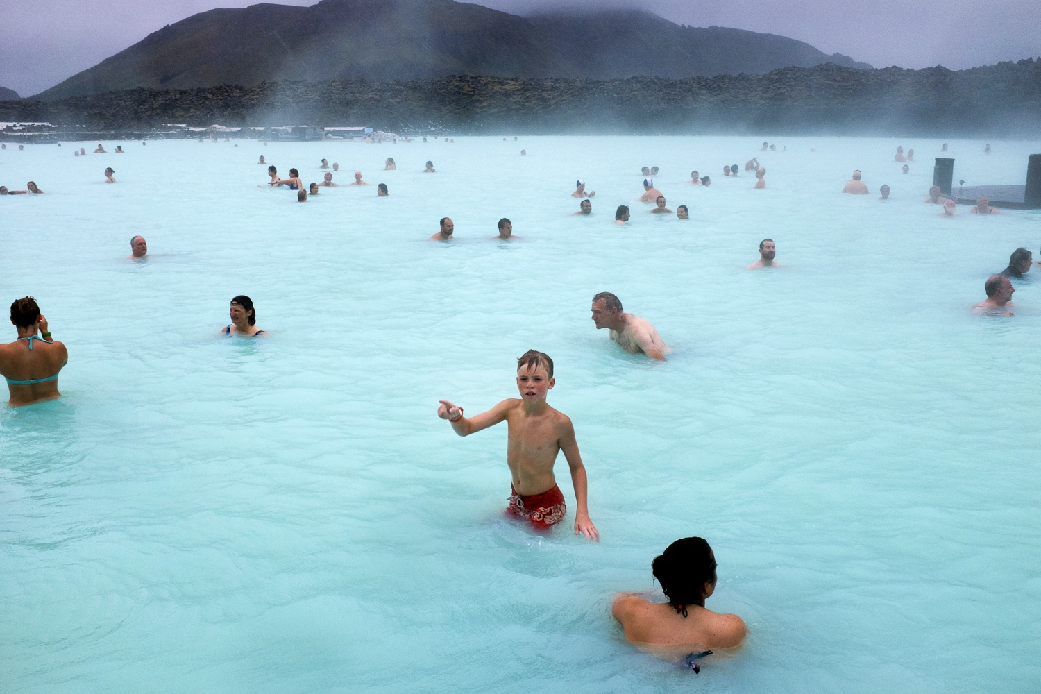 At Bláa lónið (Blue Lagoon).
