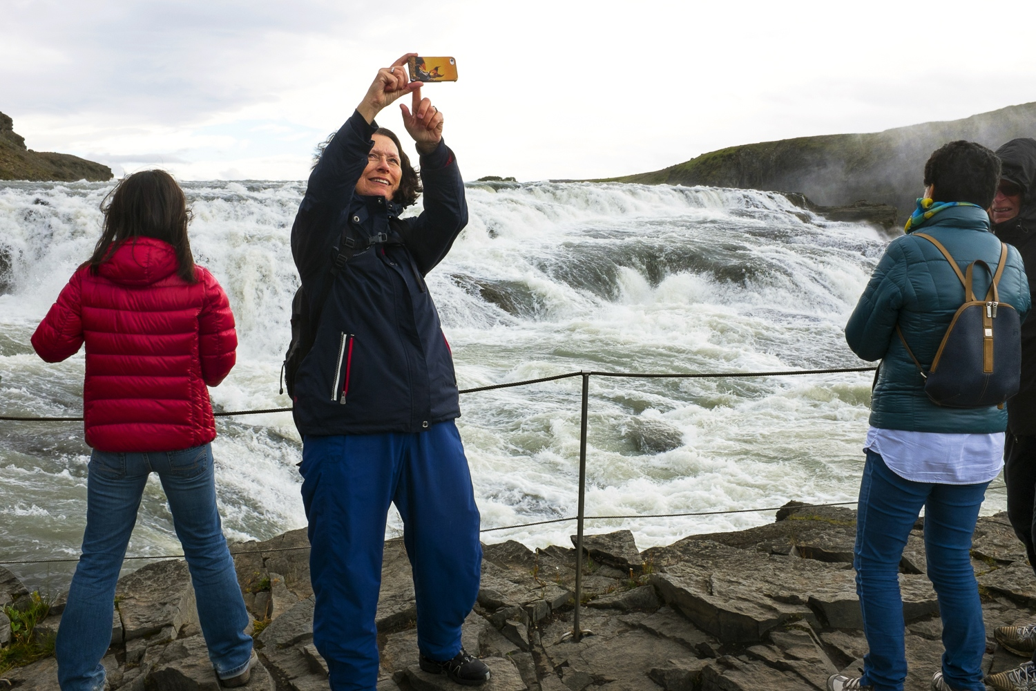 Tourists at Gullfoss.