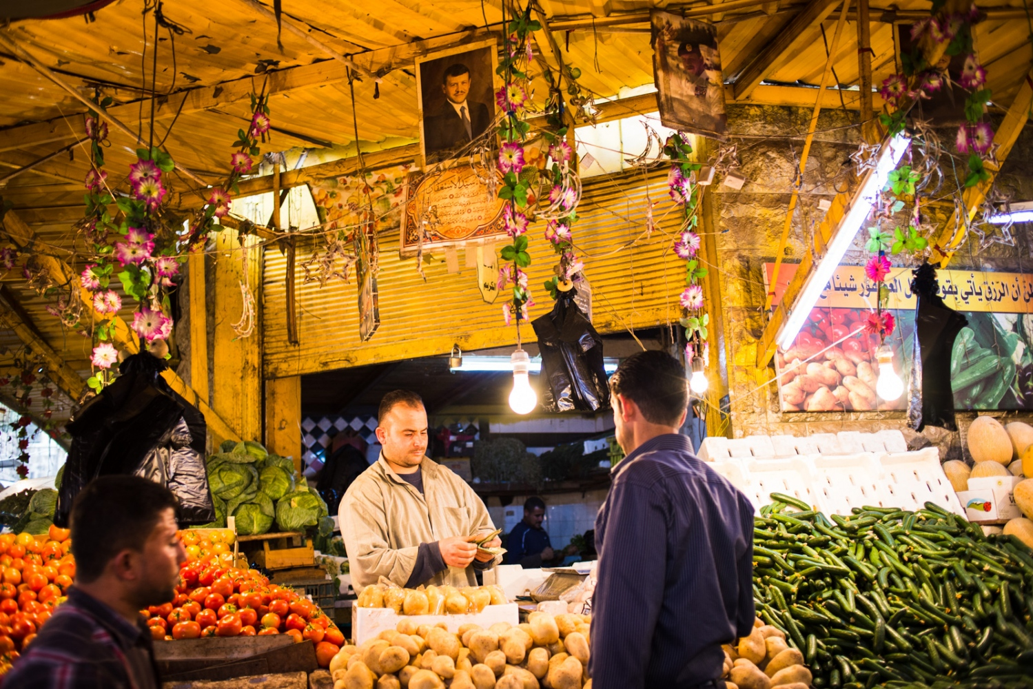 Vendors sell fresh produce at the market in downtown Amman. Like other countries in the MENA region, Jordan imports well over 50 percent of its food. Agriculture in Jordan is only possible due to costly government subsidies and water-intensive irrigation.