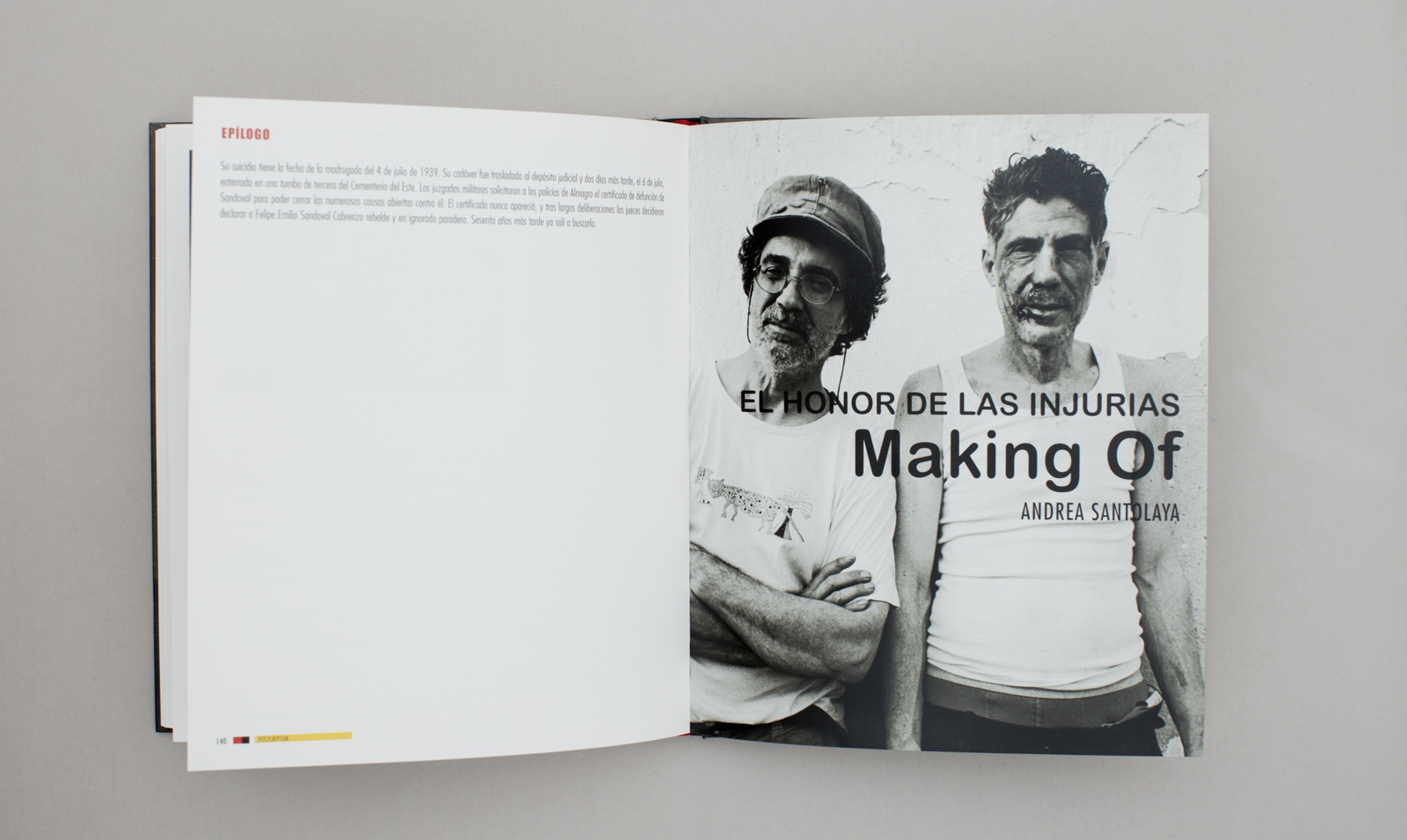 Cover page for the making of section inside the book.