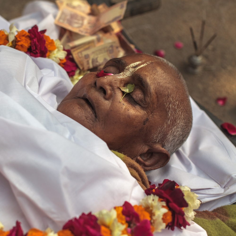 2 Feb 2015 - Vrindavan, India - A death ceremony is performed a Chaitanya Vihar, an ashram for widowed women.