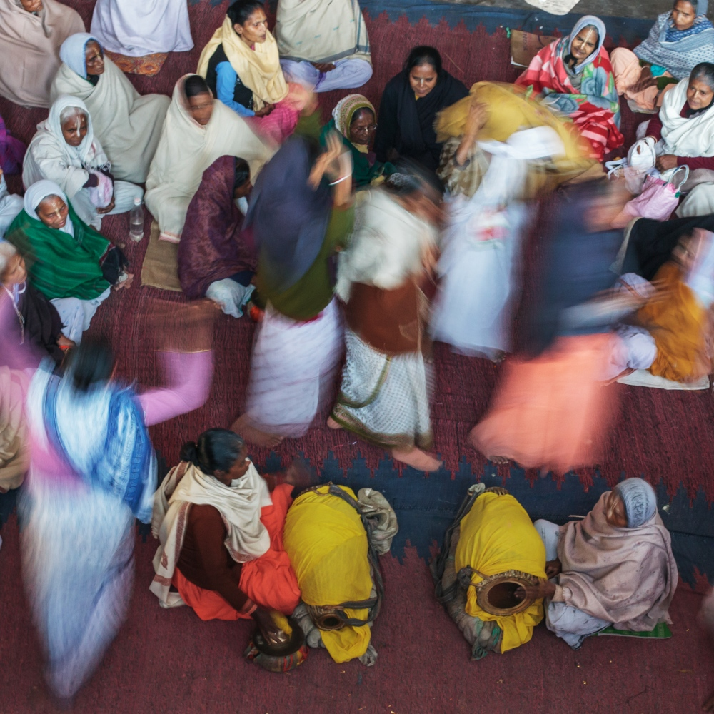 8 Feb 2015 – Vrindavan, India - Widowed women dance and chant together during their daily prayer session. Many women relocate to Vrindavan from West Bengal to find community and sisterhood among other widowed women.