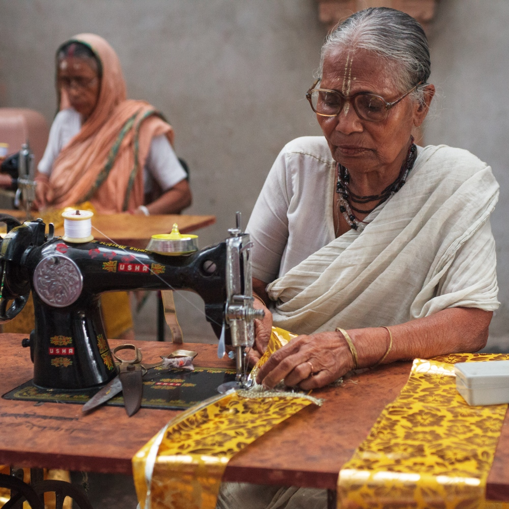 23 Sep 2014 - Vrindavan, Uttar Pradesh - widows at the Meera Sahbhagini ashram learn to sew with the help of NGO Sulabh International. The items that are made within the ashram are sold to local markets giving mostly illiterate widows avaluable skill and a small wage.