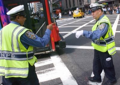 New York traffic cops directing traffic