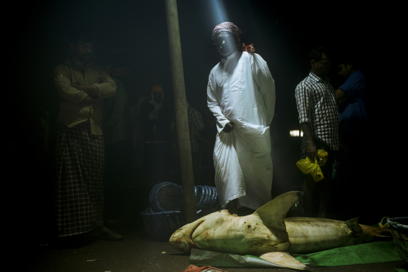 An Emirati auctions off a shark at 5 in the morning.