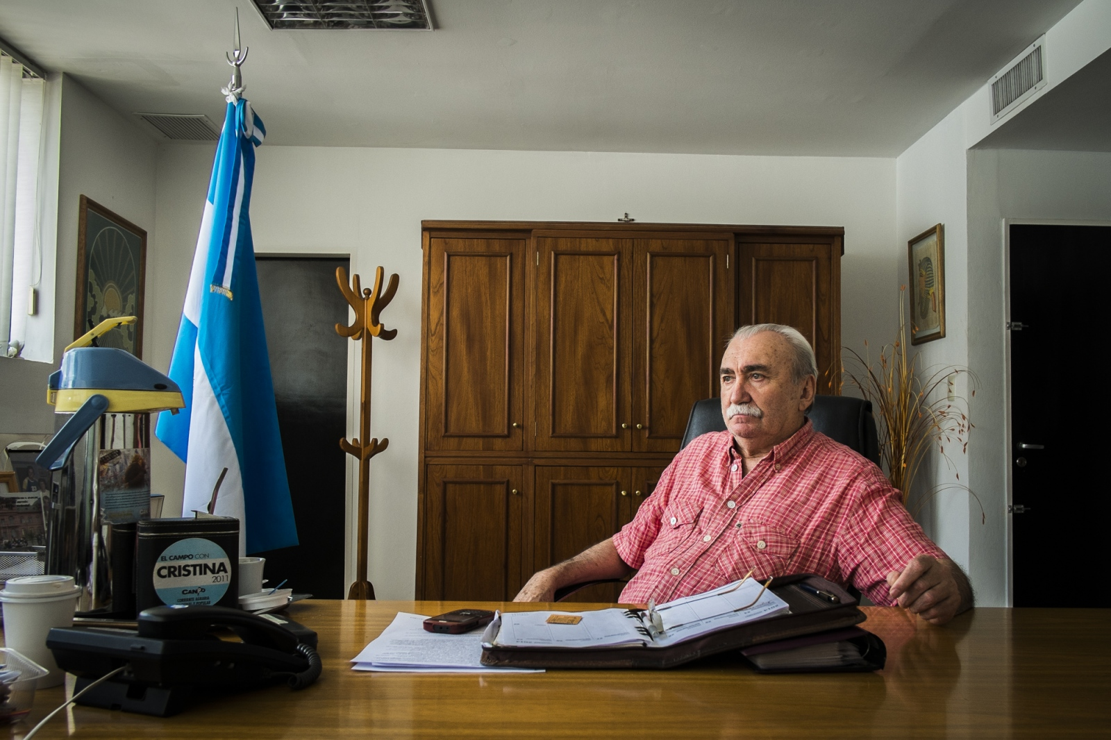 Mayor of Monte Maiz, Dr. Luís Maria Trotte, a former paediatrician, in his office in the Town Hall. The mayor said he has a plan to move and forbid the parking of pulverization machines and agro-chemicals inside the town. He is waiting for the confirmation that the pesticides are the cause of such growth of cancer cases in Monte Maiz. Dr. Luís Maria Trotte was also diagnosed with cancer.