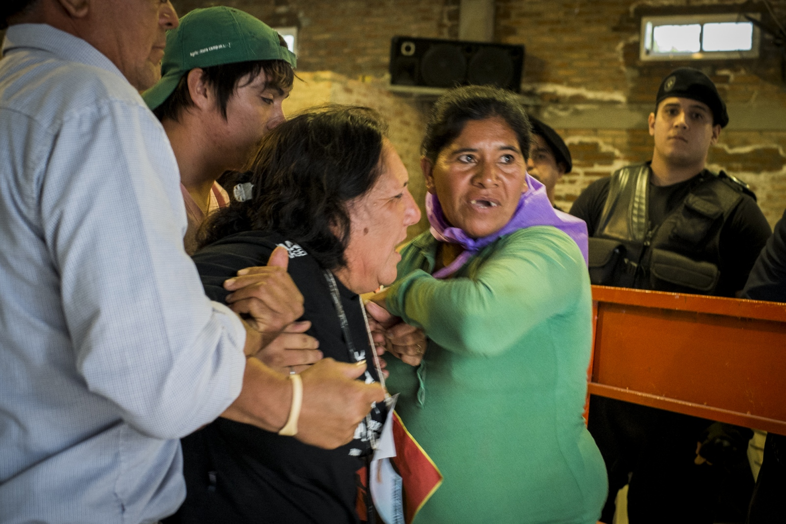 The mother of Cristian Ferreyra, shouts for justice during the trial on her son's assassination. Cristian Ferreyra a member of  the National Movement of Indigenous Farmers (MOCASE) was assassinated on the 16th of November 2011. Soy businessman Jorge Ciccioli, accused of being the mastermind of the      was at the end absolved of any crime, while his keeper, Javier Juárez, who pressed the trigger was sentanced to 10 years in prison.