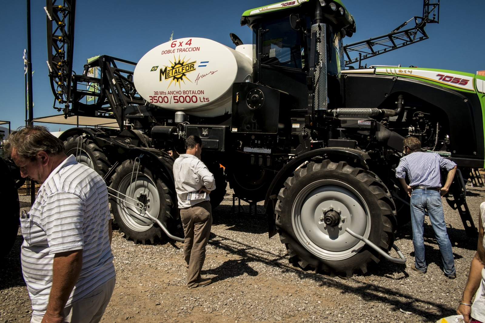 "In Argentina, ""big agriculture"" is massive business. Farmers look at ""a mosquito"", used to apply agro-chemicals in agriculture fields like soy, on the Expo Agro fair, where producers have the change to see new lines of agriculture machinery."