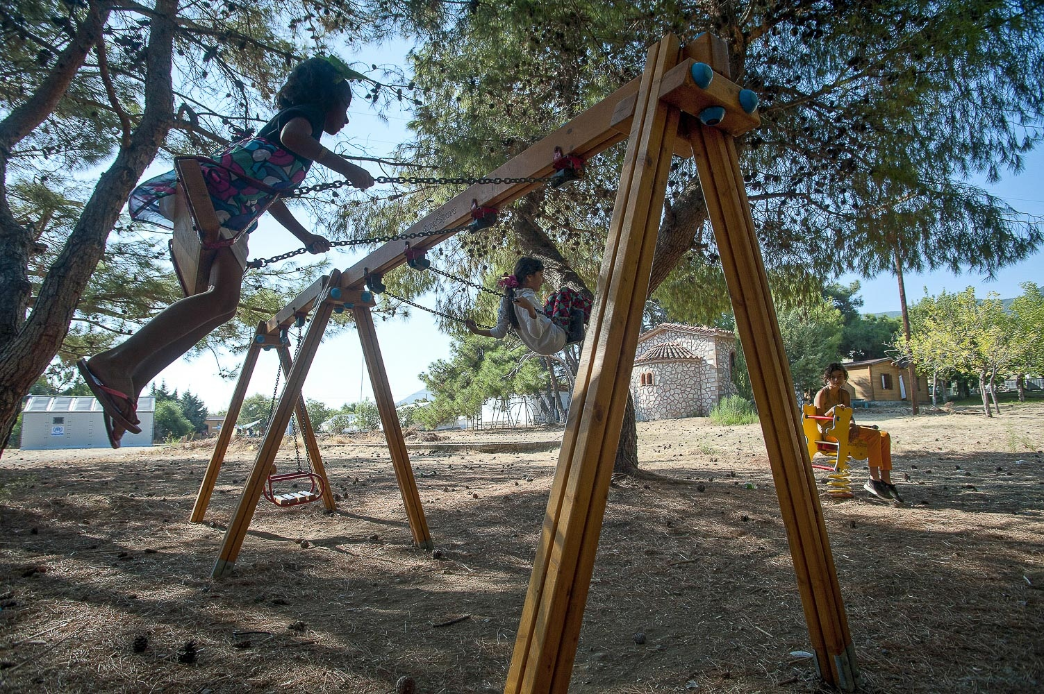 Refugee children play in the grounds of PIKPA – The Village of Altogether - Mytilini, Lesbos, Greece.