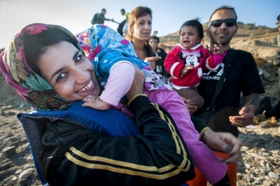 An Afghan family after their safe arrival near Molivos, Greece.