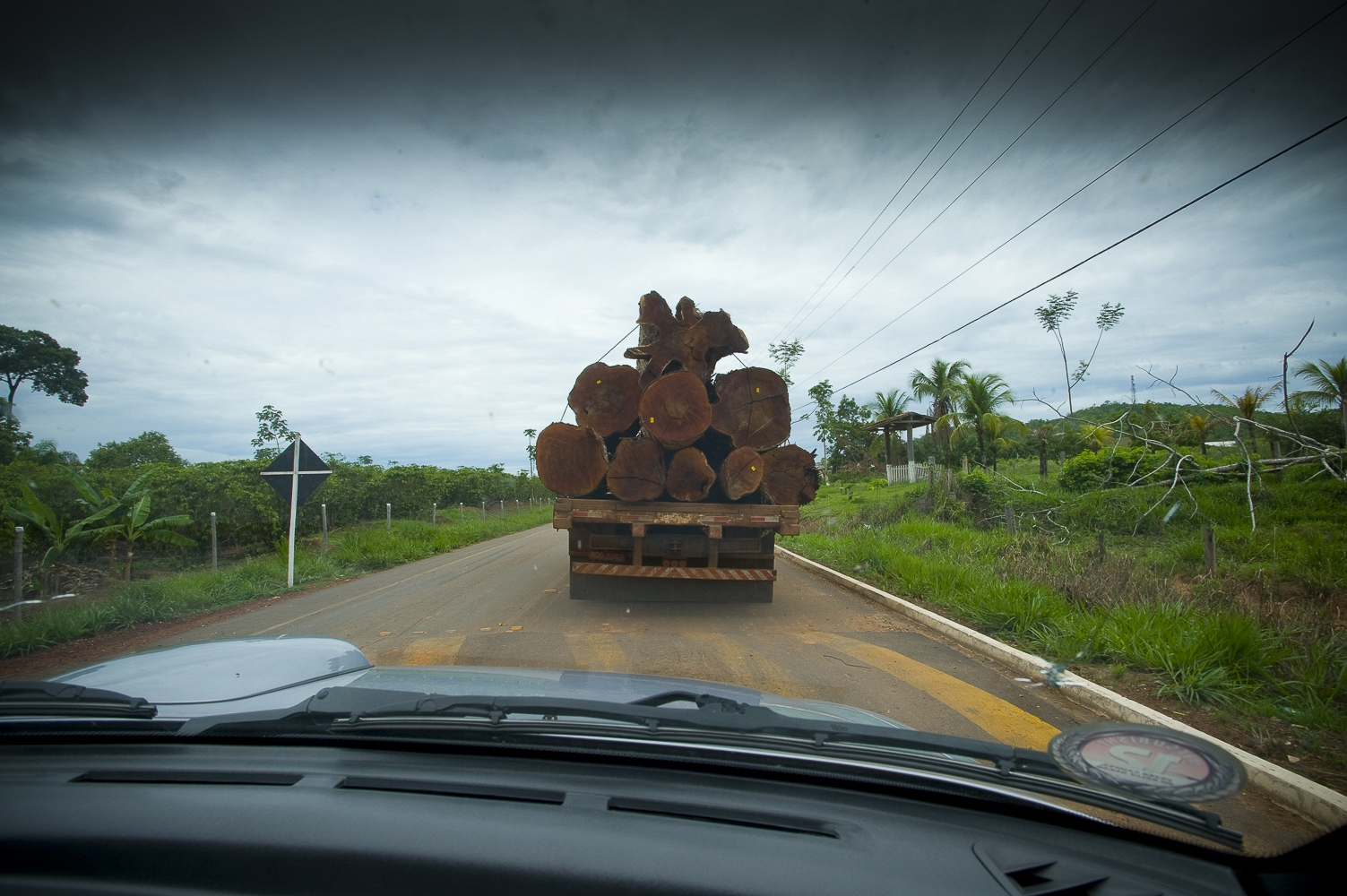 "A logging truck on the ""Coffee Road"" near the ""7th September Indian Reserve"" Rondonia, Brazil."