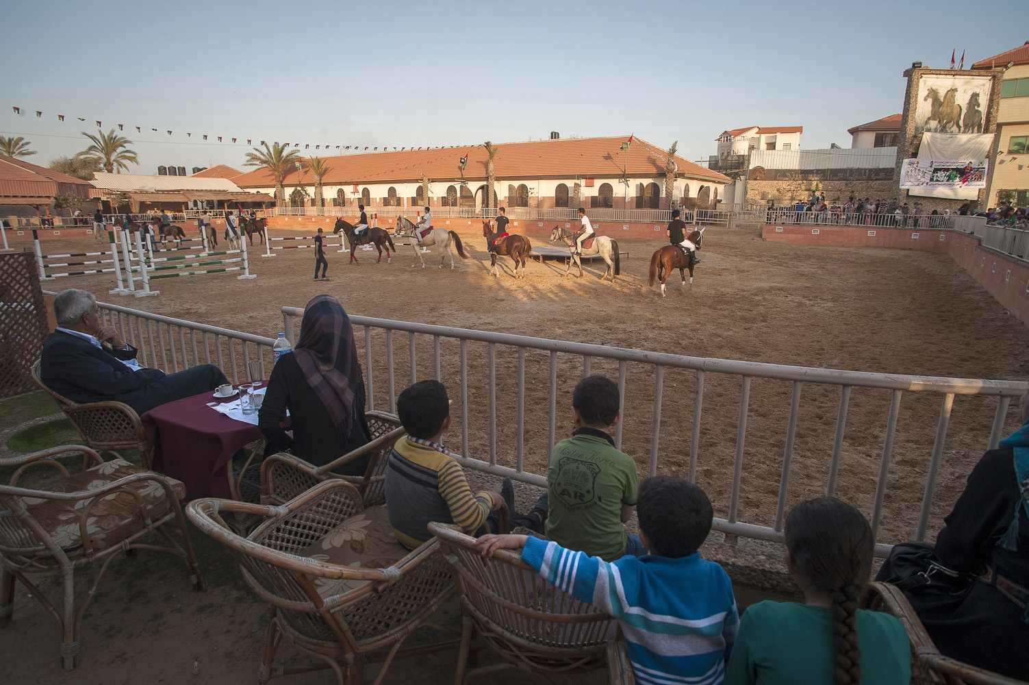 "The President's Equestrian Club in the north of Gaza. The Club's restaurant is ""The place to be seen for Gaza's teenage elite."" Catering to a wealthy, young, secular crowd. Situated adjacent to the Crazy Water Park it is part of the limited recreational ""circuit"" for wealthy Gazans."