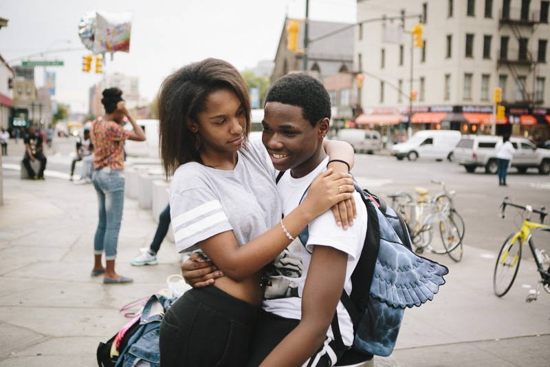 Raquelle and Alonzo hang out near Barclay's Center in Brooklyn, New York after school on September 29, 2014.
