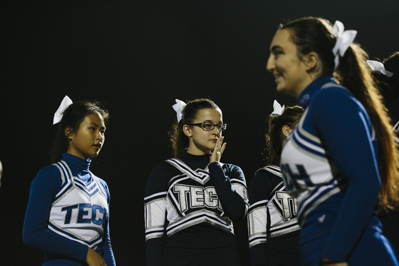 The Brooklyn Tech cheerleading squad during their football team's last game of the season at Aviation Sports Center in Brooklyn on November 5, 2015.