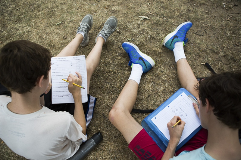Konstantin, 14, left, and Bishopp, 14, right, both new freshmen in high school, do their math homework before track practice in Fort Greene Park on September 9, 2015, the first day of school in New York City.