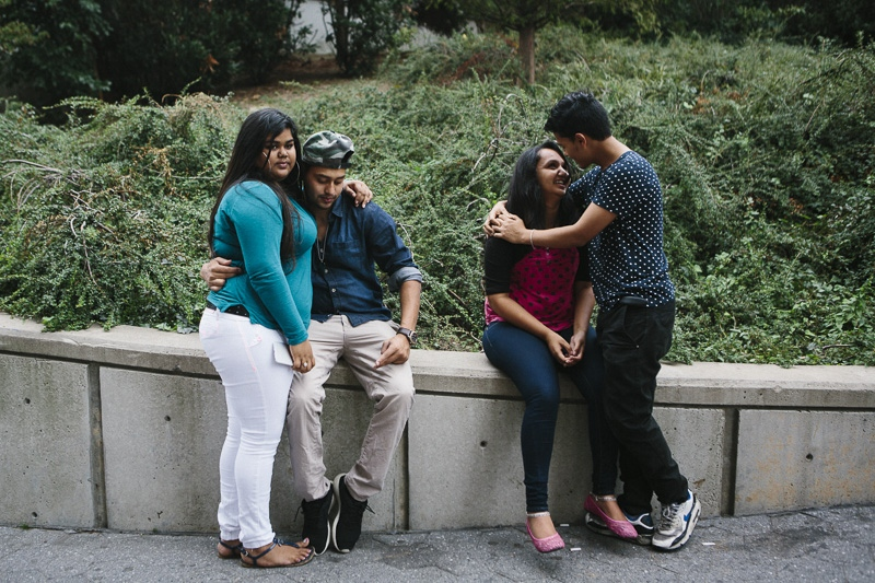 From left, Karen, 17, Tarek, 20, Rosie, 17, and Munna, 19, from Queens are caught canoodling after school on September 29, 2015.