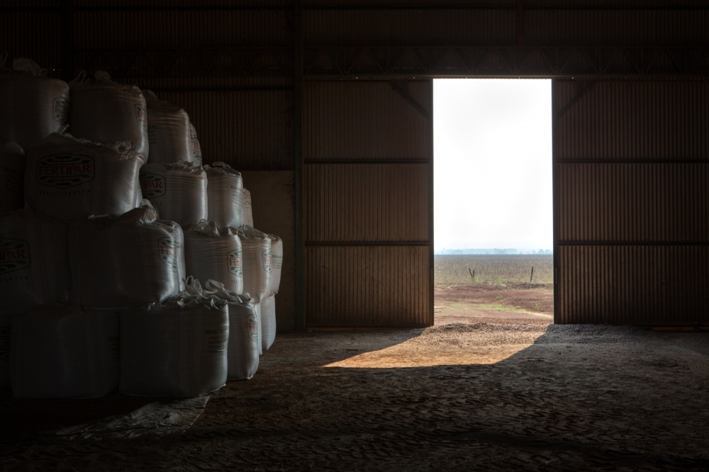 Food storage. Soybean meal, corn DDG, cottonseed, ground sorghum, salt and moist corn constitute the cattle feed on this farm. The group Rodrigues da Cunha Agropecuaria have 11 farmers all over Brazil. Only in this farm, they rase 30.000 animals where 205 tonnes of feed are served daily. Pontes e Lacerda, Mato Grosso, Brazil, 2015
