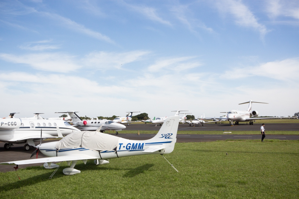 Private planes parked at Uberaba airport. Every May, rich farmers and politics come to visit to the most important cattle exhibition of the country, the Expozebu. Uberaba, 2013