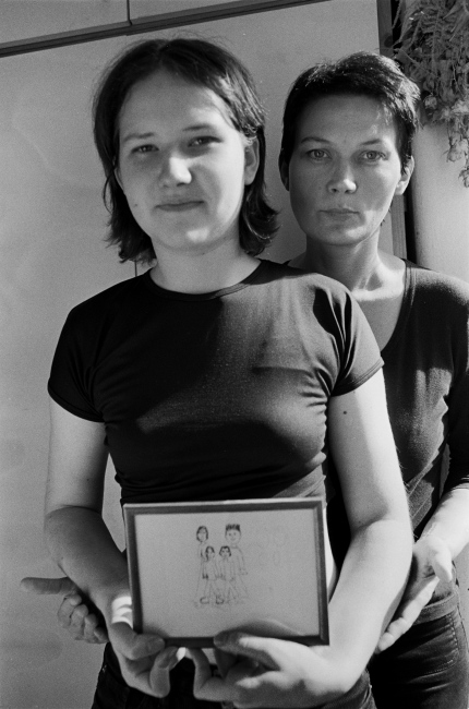 Rene Rusjan, visual artist, with her young daughter, Ljubljana, Slovenia 1989.  Part of a series of portraits and interviews with writers and artist that I made during my two months stay in Ljubljana, questioning the change in identity from having been Yugoslavian to becoming Slovenian.