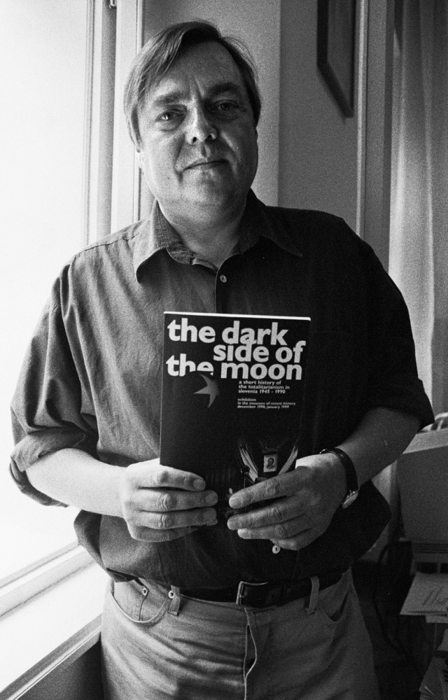 "Drago Yancar, writer, Ljubljana, Slovenia, 1989 ,  wrote The Dark Side of the Moon: A short history of the totalitarianism in Slovenia, 1945 -- 1990 - ""Everything that took place in the forty-fiveyears of communist dictatorship must be clearly imprinted into Slovenianawareness, just like the memory, of the Holocaust lest a nation not wantingto know its past be condemned to re-live it again, maintains."" - Part of a series of portraits and interviews with writers and artist that I made during my two months stay in Ljubljana, questioning the change in identity from having been Yugoslavian to becoming Slovenian."