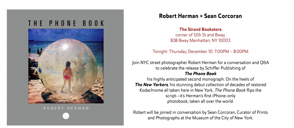 Today Dec 10 7PM Robert Herman + Sean Corcoran The Strand Bookstore NYC