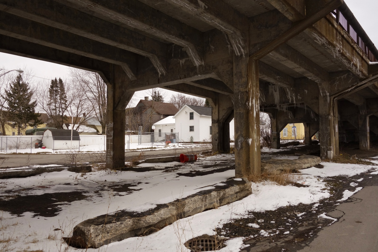 Hope Street, West Utica, NY, under a bridge and along the railroad tracks