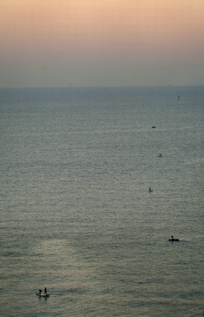 Line fishing boats in the early morning off the coast of Gaza.