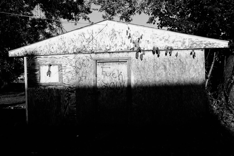 Vandalized shed.