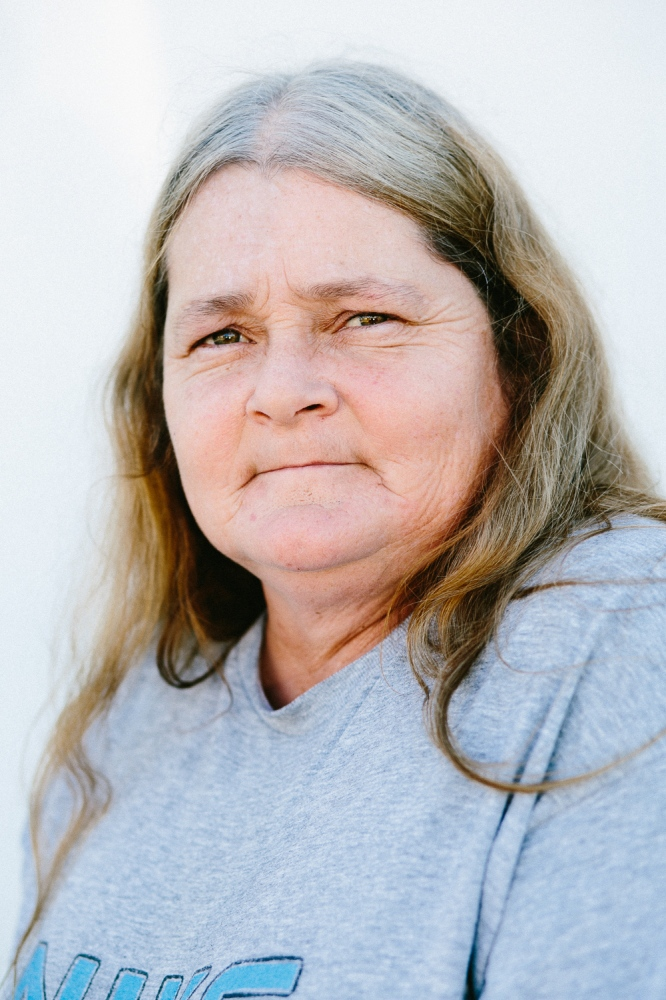 Paula, 52, recovering heroin addict, photographed outside SOLACE, a local treatment and support center for recovering addicts.