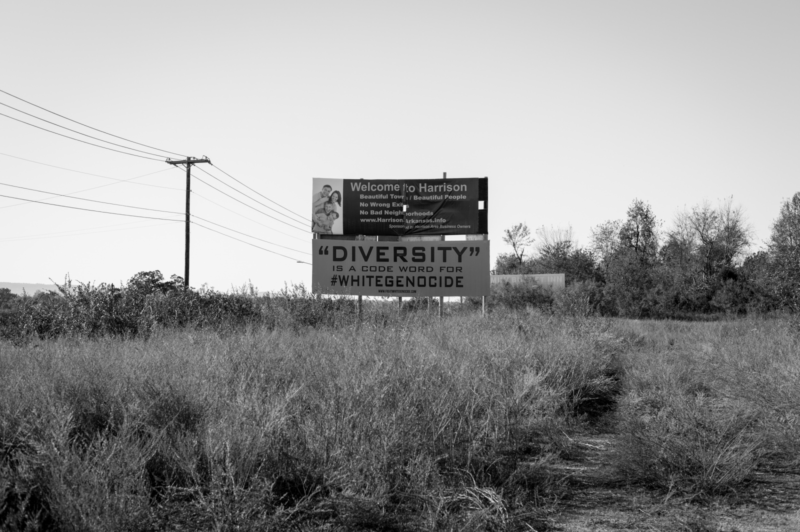 """Harrison, Arkansas.A billboard mocking the """"politically correct meaning"""" and """"dangers"""" of forced Diversity, sits under the """"Welcome to Harrison"""" sign. According to a recent petition on the White House's """"We The People,"""" website, """"White Genocide is - """"all white countries and only white countries are being flooded with third worlders, and whites are forced by law to integrate with them as to """"assimilate,"""" i.e. intermarry and be blended out of existence."""" """"Deliberately inflicting on group conditions of life calculated to bring about its physical destruction in whole or part."""" """"Diversity is a code word for White Genocide."""""""