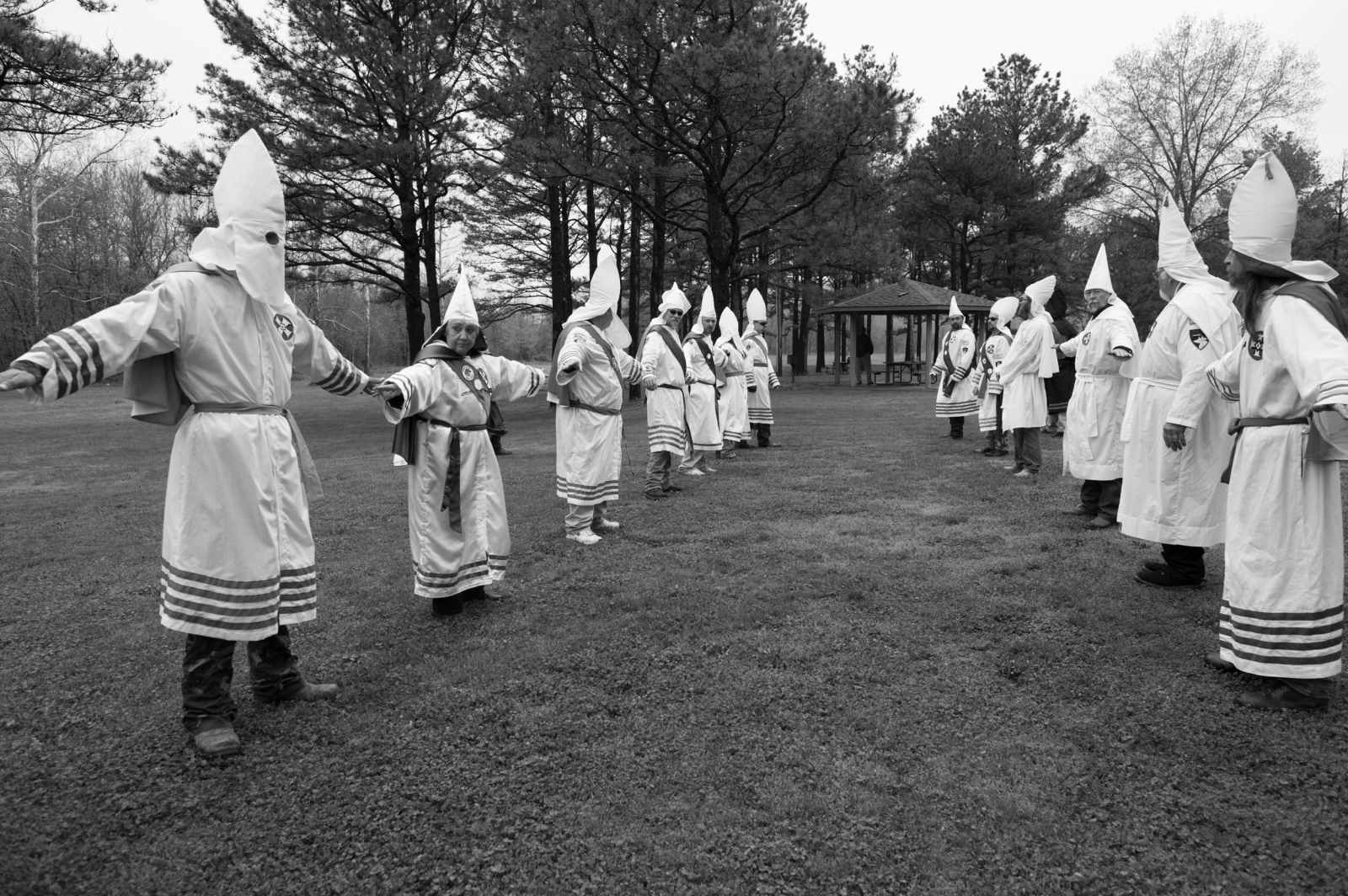 Missouri. Klan members go into a military-type formation in preparation for a Ku Klux Klan wedding ritual ceremony.
