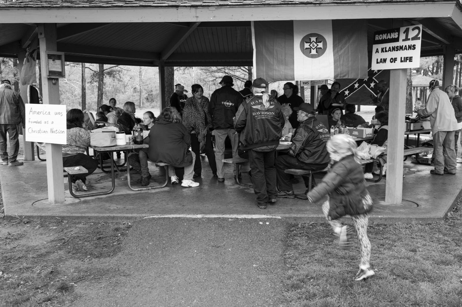 Missouri.A group of Klan folk gather for a wedding at the Fort Davison state historic site and the Missouri Civil War battle of Pilot Knob.