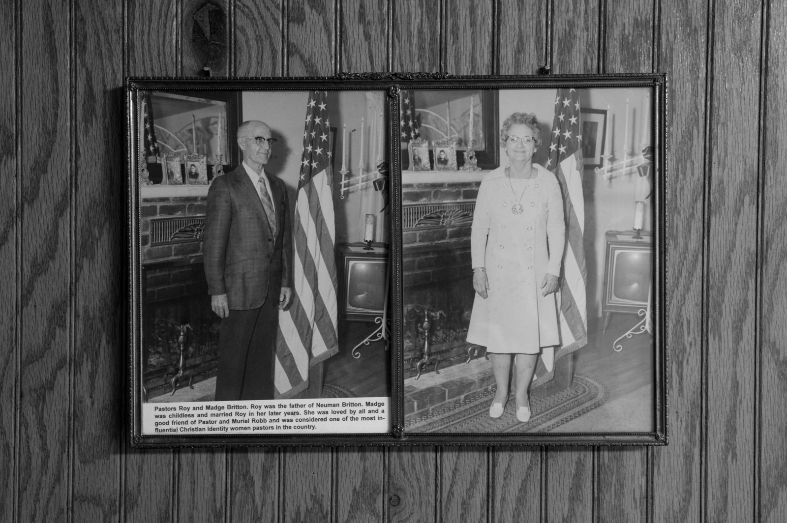 """Zinc, Arkansas.A photograph of Madge Britton (on right) hangs in the Knight's Party Church foyer. Pastor Britton was a fiery speaker who spoke to tent crowds up until her death in the late eighties when she was in her eighties herself. A good friend of Pastor Robb, this woman was active throughout the nation speaking out against integration, abortion, homosexuality, and globalism. She published a newsletter about the corruption in government which went to """"patriots"""" throughout the world. Pastor Britton had her own ministry and taught the Bible over a period of sixty years."""