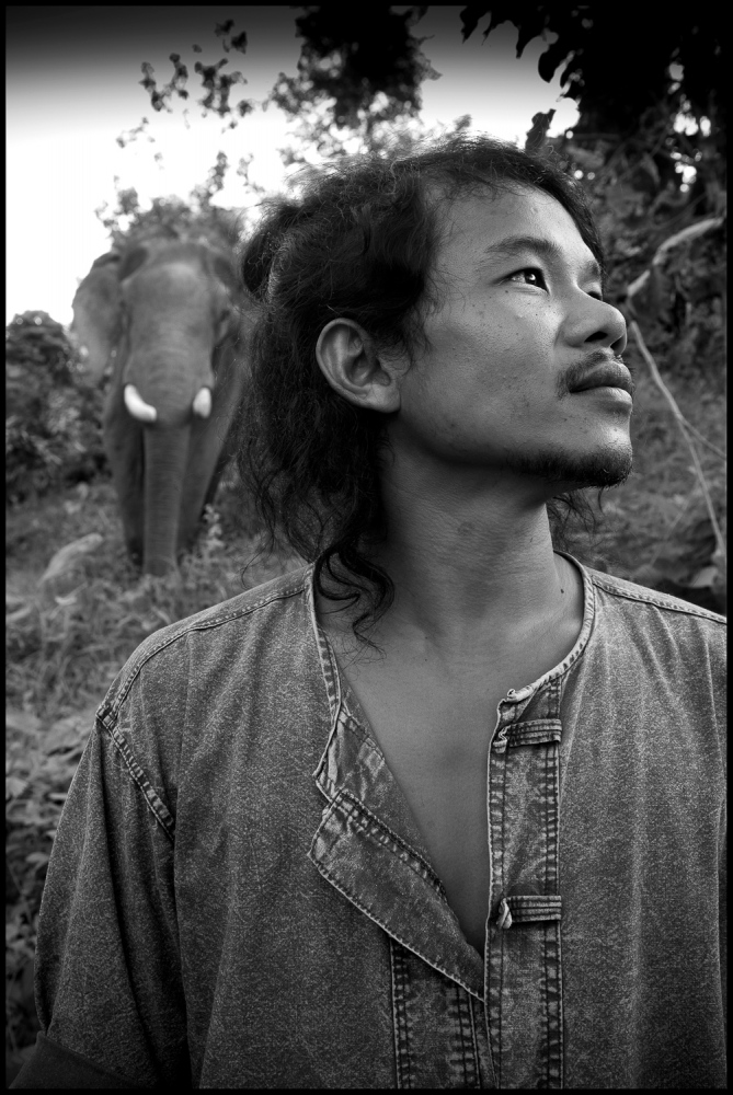 Mahout Anon with his elephant Tong Jai at BLES, Thailand. Anon is one of the founders of BLES and still a Mahout.