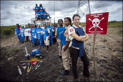 Helen Gray Programme Manager for The HALO trust in Mozambique with the women's section in Damo minefield, Maputo Province, Mozambique.
