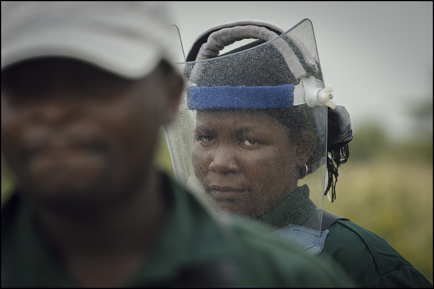 Demining stops due to the rain limiting visibility in Damo minefield Maputo Province, Mozambique.