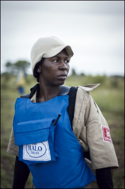 Supervisor 28 year old Domingas Lacrimosa Lina Dias demining in Damo minefield Maputo Province, Mozambique.