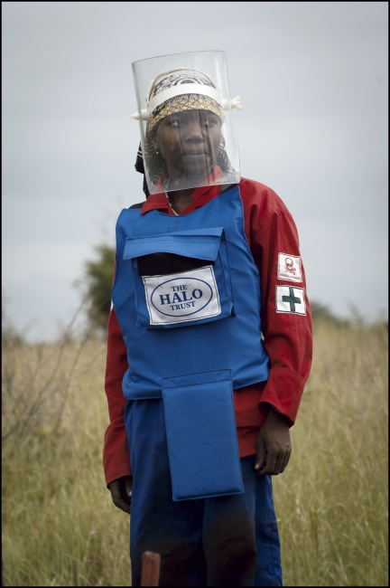 HALO Paramedic and Deminer Helena Jaime Luis in Damo minefield Maputo Province, Mozambique.