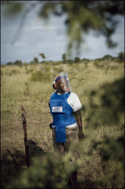 "Claudia Matsinhe a single mother with a 6 year old daughter "" I am very proud of every woman who works in the minefield."" Demining in Damo minefield Maputo Province, Mozambique."