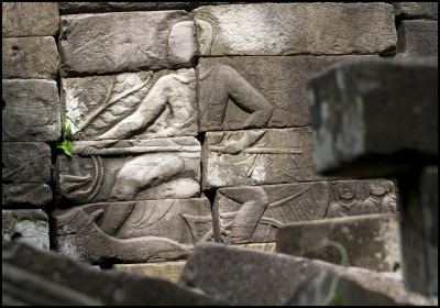 Banteay Chhmar Temple in Cambodia. Image on the walls believed to be the 12th century Khmer King Jayavarman 7th (1181-1219) who also constructed the temple.