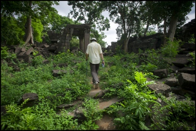 Architect John Sanday (OBE) at Banteay Chhmar Temple in Cambodia. Constructed by the 12th century Khmer King Jayavarman 7th (1181-1219).
