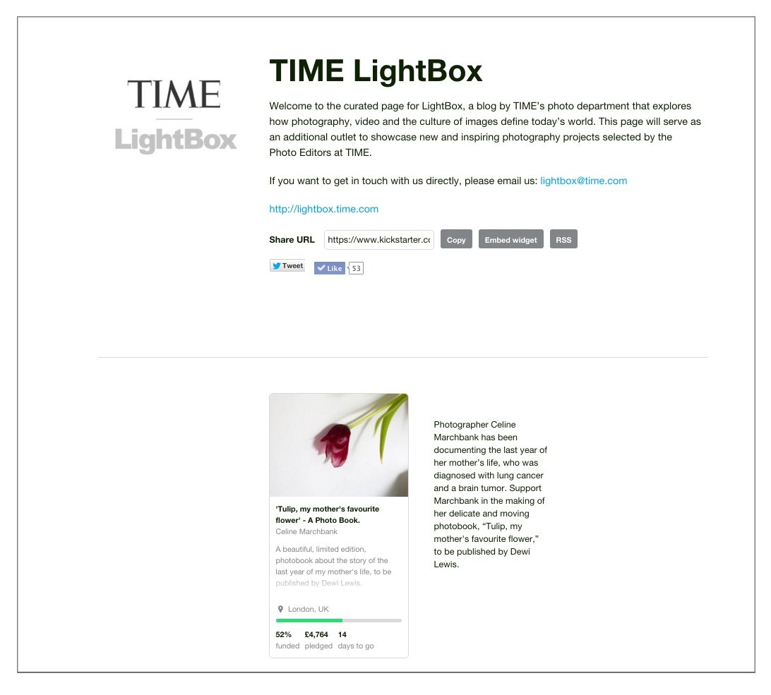 TIME LightBox. TIME's pick of 'the most important Kickstarter campaigns'.