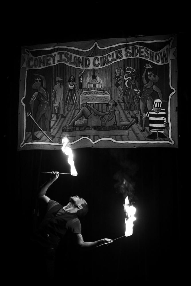 Fire Eater at the Freak Show, Coney Island, Brooklyn, NY
